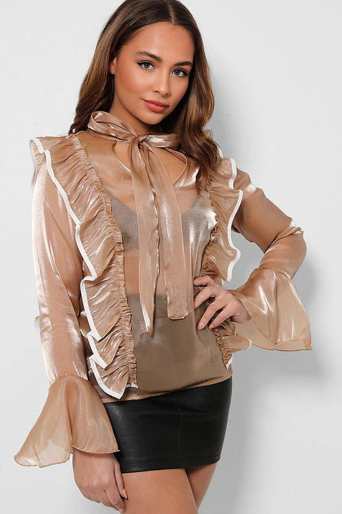 Taupe Organza Frilled Pussybow Blouse