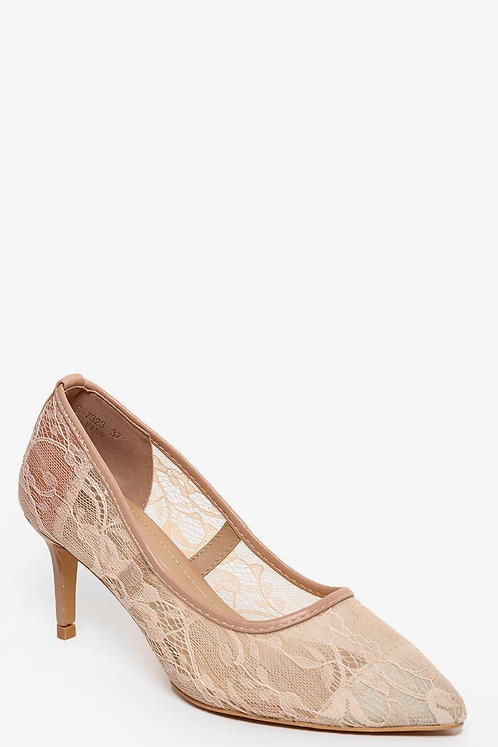 Pink Lace Mid Heel Pumps