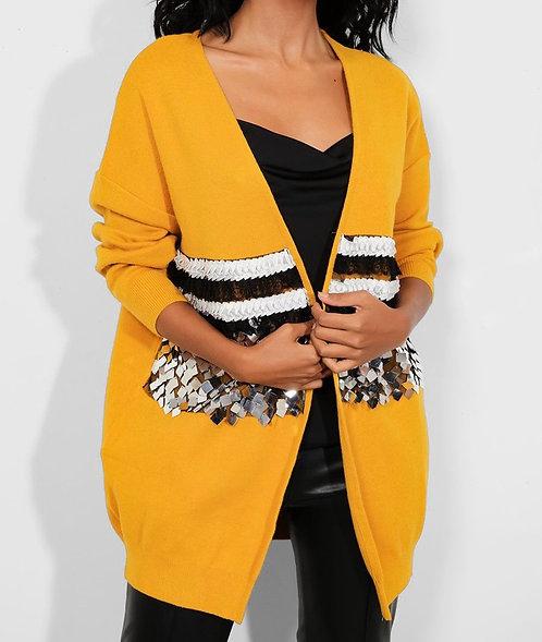Yellow Sequin Cardigan