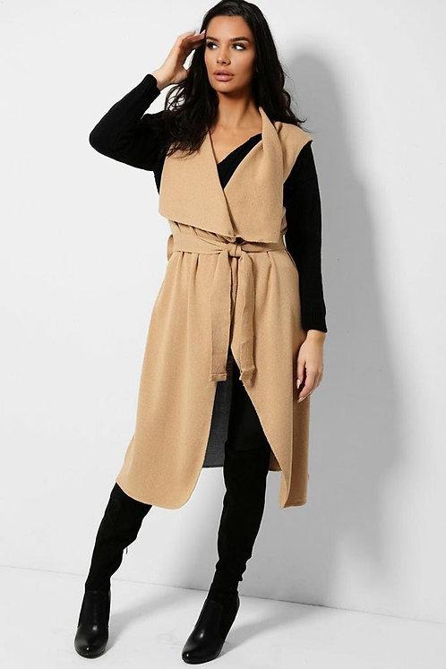 Beige Self-Belt Longline Knitted Waistcoat