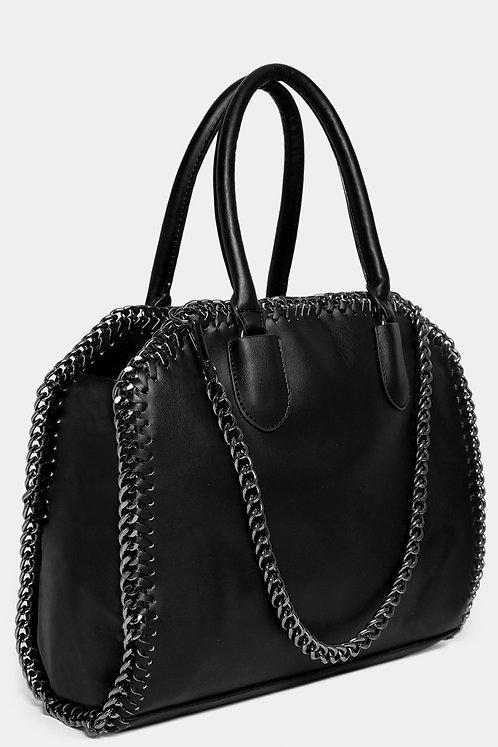 Black Chain Trims Vegan Leather Large Handbag