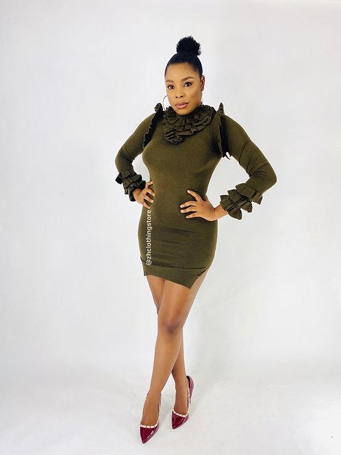 Khaki Frill Side Split Dress