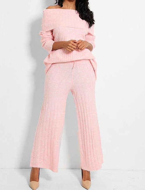 Turtle Neck Pullover Set in Pink