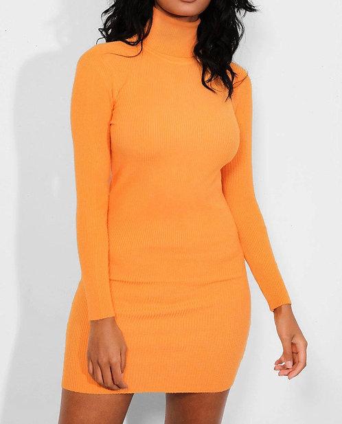 Orange Turtle Neck Dress