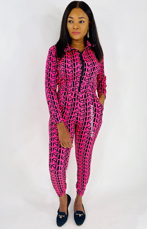 Black Letters Print Pink Two Piece Tracksuit