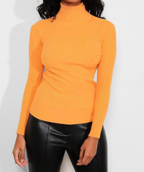 Orange High Neck Pullover