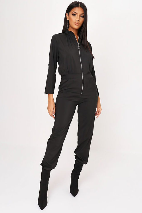 Black Zip Front Woven Utility Jumpsuit