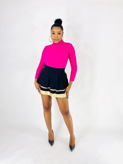 Black And Gold Textured Mini Bandage Skirt