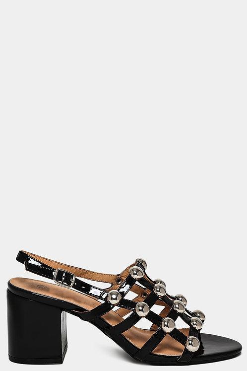 Patent Black Slingback Sandals