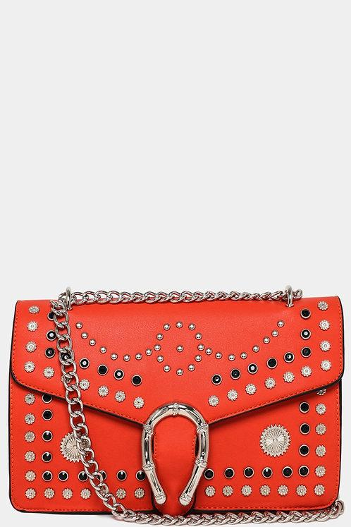 Orange Studded Mini Embroidered Shoulder Strap Bag