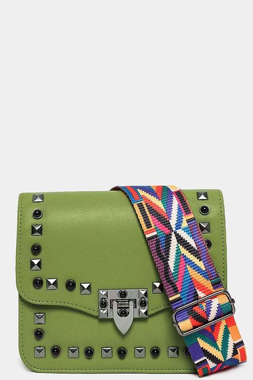 Green Studded Mini Embroidered Shoulder Strap Bag