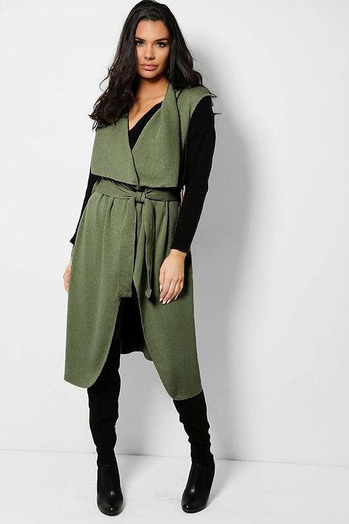 Khaki Self-Belt Longline Knitted Waistcoat