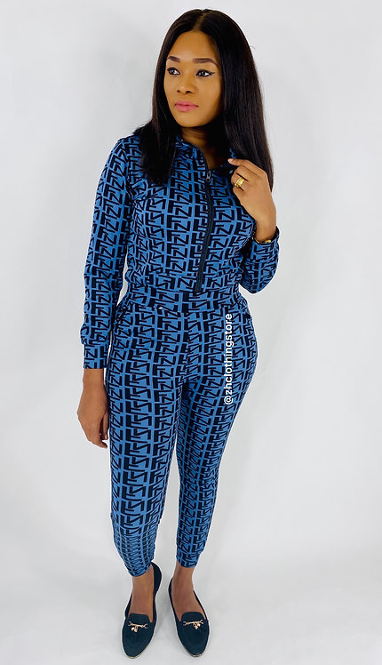 Black Letters Print Blue Two Piece Tracksuit