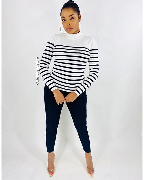 Black White Stripes Pullover