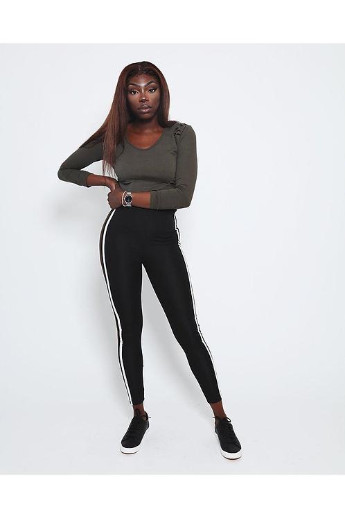 Khaki White Stripes Black leggings