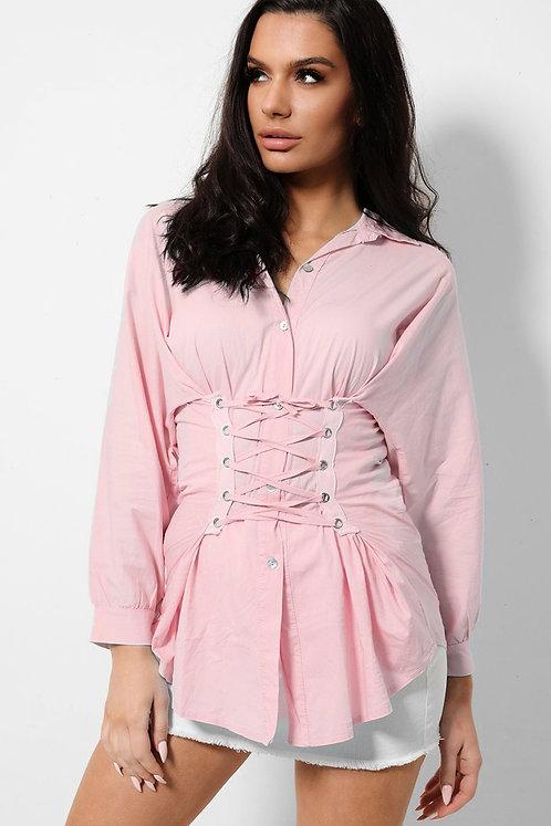Pink Corset Cotton Shirt