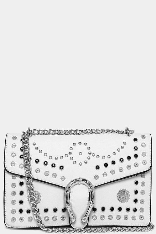 White Studded Mini Embroidered Shoulder Strap Bag