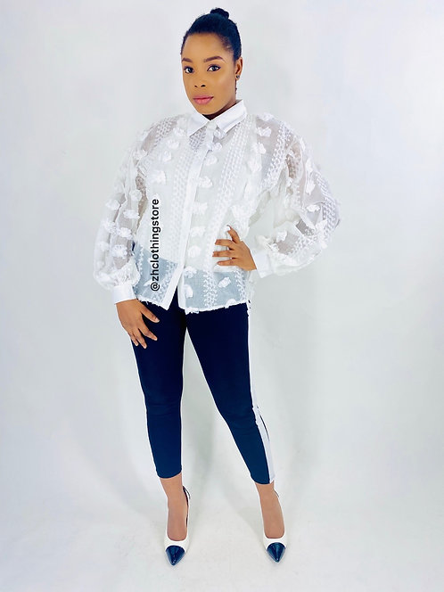White Sheer Floral Shirt
