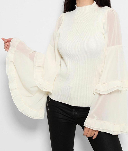 Beige Extreme Sleeves Top