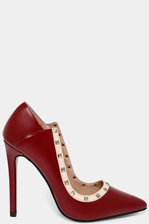 Burgundy Cut Out Studded Heels