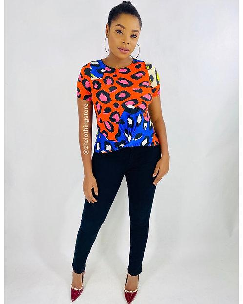 Multicolour Leopard Top