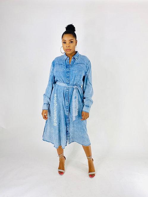 Denim Shirt Midaxi Dress