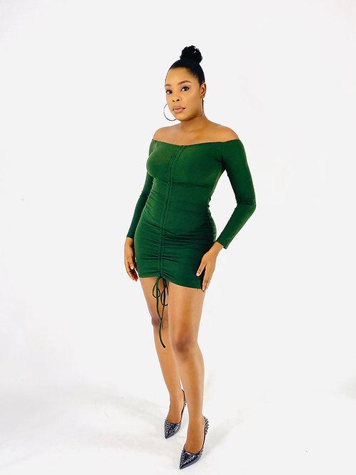 Green Drawstring Ribbed Dress