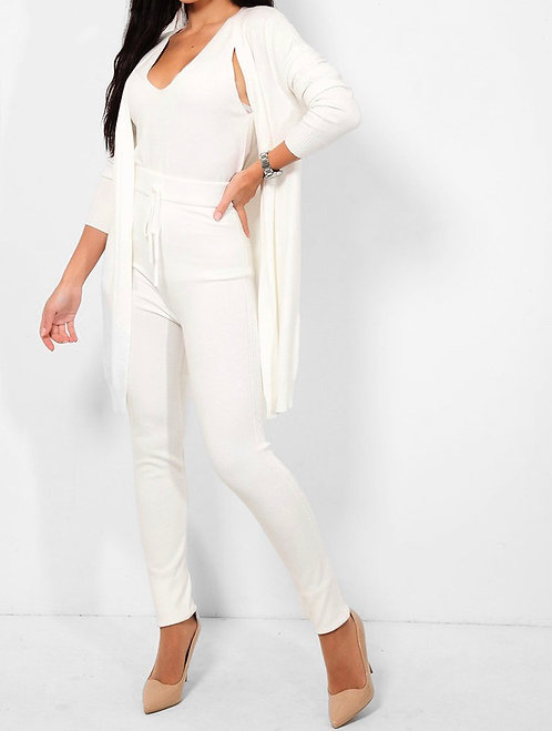 Cream Knitted 3 Piece Set