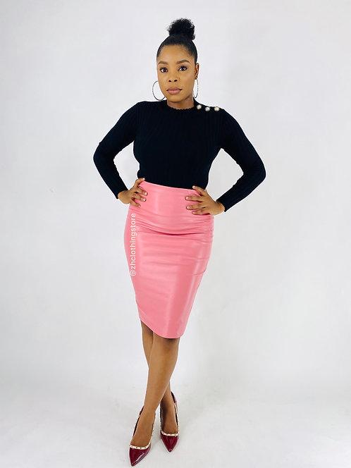 Kellie PU Midi Skirt In Pink
