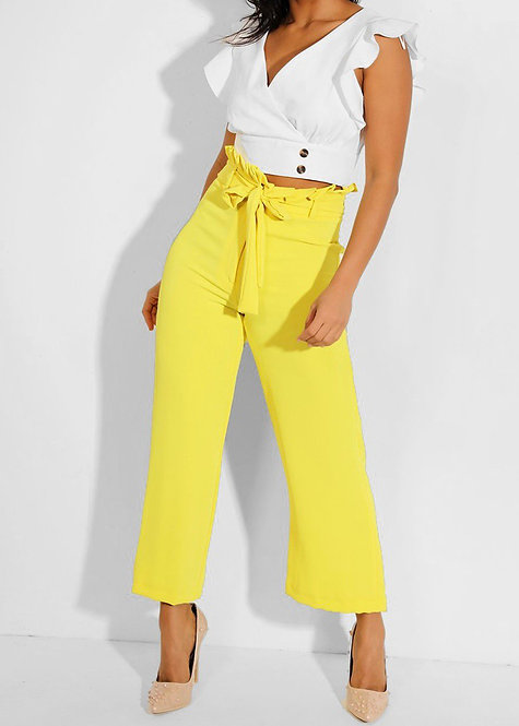 River Island Yellow Paperbag Wide Leg Trousers
