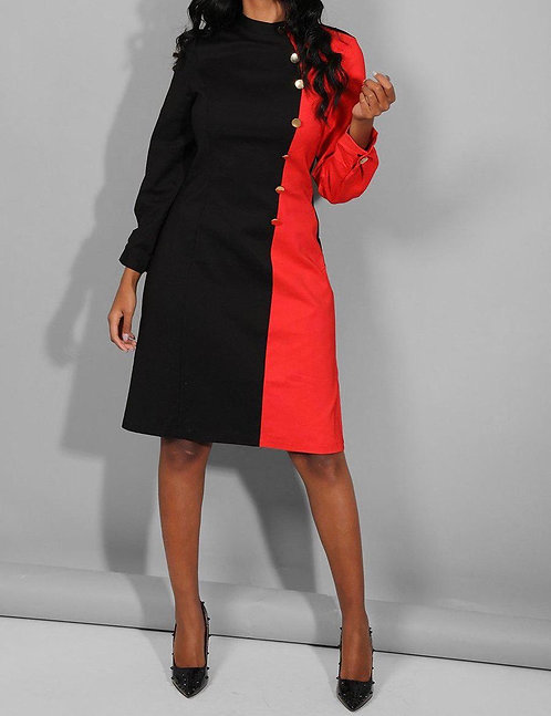 Black Red Military Dress