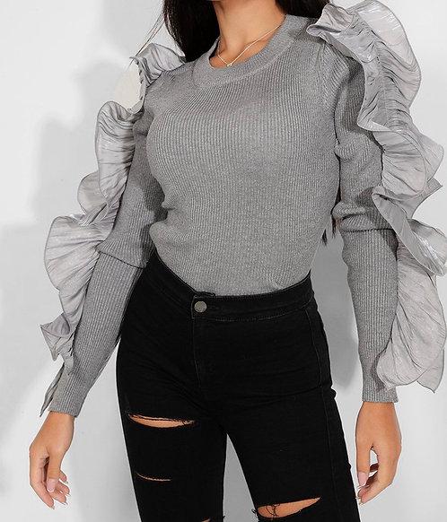 Grey Ruffle Sleeves Top