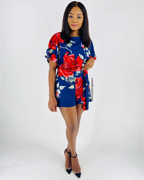 Natalia Floral Batwing Playsuit
