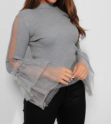 Grey Sheer Stripe Frill Top