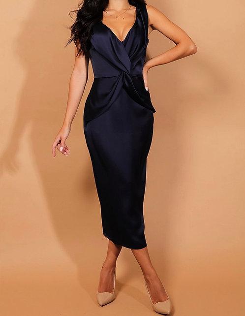 Navy Satin Twist Dress