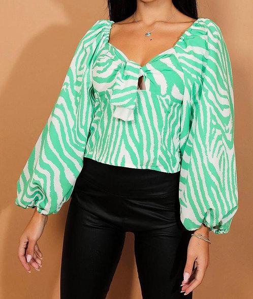 Green White Zebra Crop Top