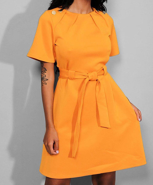Mustard Waist Tie Button Dress