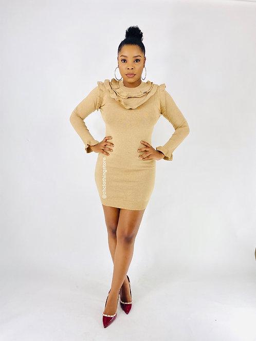 Camel Frill Shimmer Dress