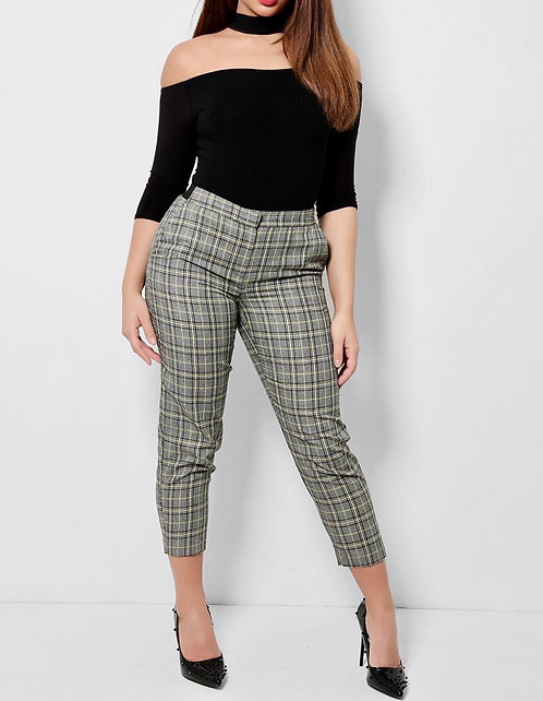 Grey Yellow Plaid Crop Trousers