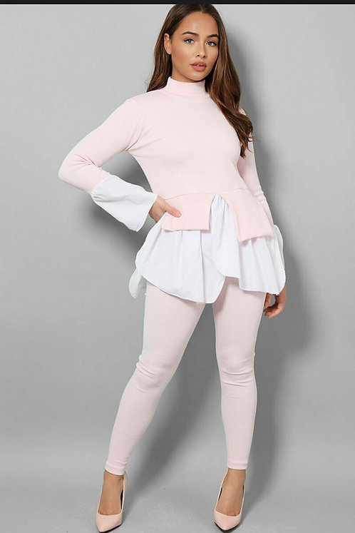 Pink Ribbed Shirt Casual Set