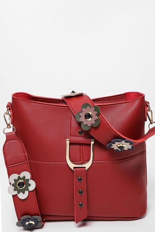 Flower Embellished Strap Red Bucket Bag