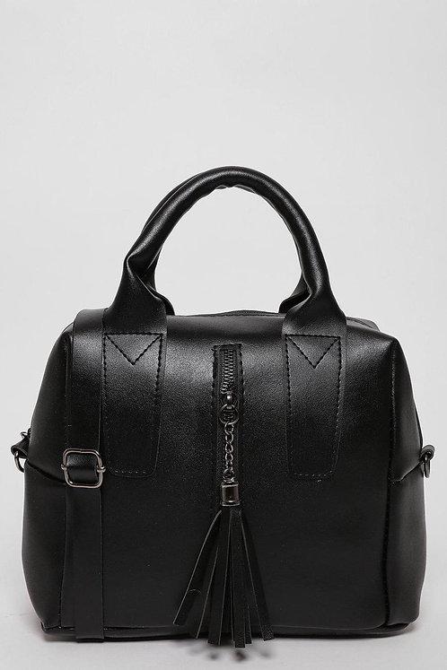 Front Zip And Tassel Black Handbag