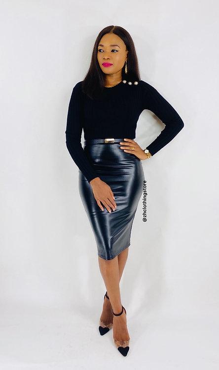 Kellie PU Midi Skirt