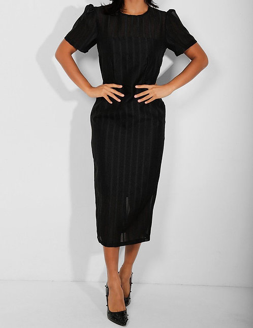 Asos Black Textured Puff Sleeves Dress
