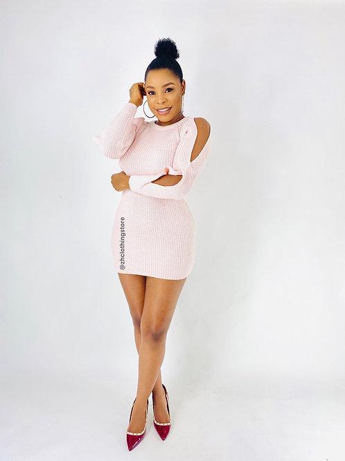 Pink Open Sleeve Dress