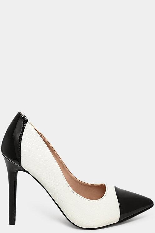 Black & White Croc Patent Heels