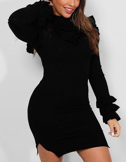 Black Frill Side Split Dress