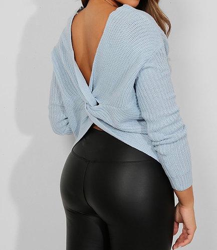 Blue Twist Open Back Pullover