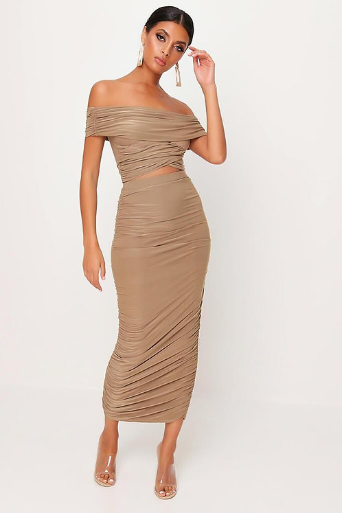 Taupe Slinky Ruched Skirt