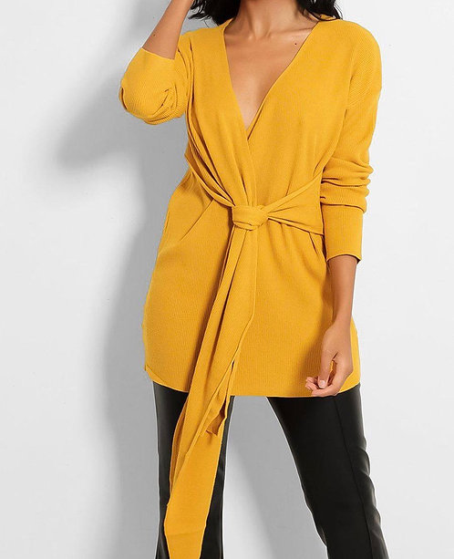 Mustard Wrap Front Top